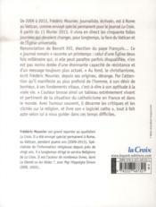 Le printemps du Vatican ; vu de Rome, 2009-2013 - 4ème de couverture - Format classique