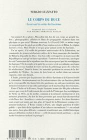 Le corps du duce ; essai sur la sortie du fascisme - 4ème de couverture - Format classique