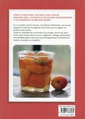 Conserver les fruits et les légumes ; bocaux, conserves, coulis, confitures... - 4ème de couverture - Format classique
