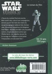 Star Wars - épisode VI ; le retour du Jedi - 4ème de couverture - Format classique