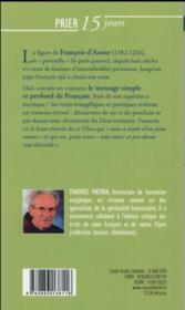 Prier 15 jours avec... ; François d'Assise - 4ème de couverture - Format classique