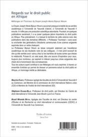 Regards sur le droit public en Afrique ; mélanges en l'honneur du Doyen Joseph Marie Bipoun Woum - 4ème de couverture - Format classique