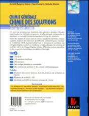 Chimie générale : chimie des solutions - exercices et methodes - exercices et methodes - 4ème de couverture - Format classique