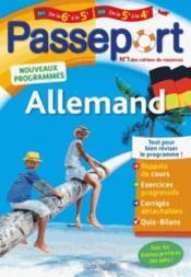 Passeport ; allemand ; de la 6e à la 5e ou de la 5e à la 4e - Couverture - Format classique