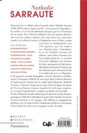 Nathalie Sarraute - 4ème de couverture - Format classique