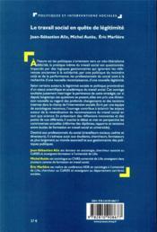 Le travail social en quête de légitimité - 4ème de couverture - Format classique