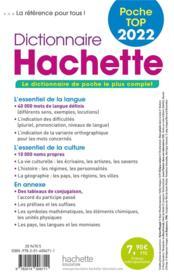 Dictionnaire Hachette poche top (édition 2022) - 4ème de couverture - Format classique