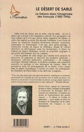 Le désert de sable ; le sahara dans l'imaginaire des Français (1900-1994) - 4ème de couverture - Format classique