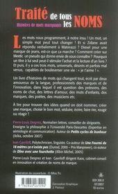 Traité de tous les noms ; histoires de mots marquants - 4ème de couverture - Format classique