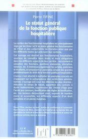 Le statut général de la fonction publique hospitalière - 4ème de couverture - Format classique