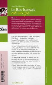 Le bac français est un jeu - 4ème de couverture - Format classique