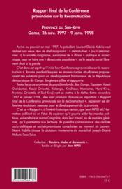 Rapport final de la conférence provincial sur la reconstruction ; province du Sud-Kivu ; Goma, 26 novembre 1997 - 9 janvier 1998 - 4ème de couverture - Format classique