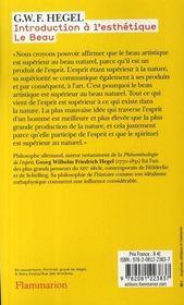 Introduction à l'esthétique ; le beau - 4ème de couverture - Format classique