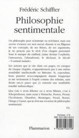Philosophie sentimentale - 4ème de couverture - Format classique