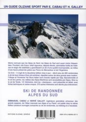 Ski de randonnée Alpes du sud - 4ème de couverture - Format classique