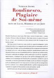 Roudinesco, plagiaire de soi-même ; Lacan, Maurras et les juifs - Couverture - Format classique