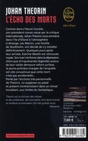 L'écho des morts - 4ème de couverture - Format classique