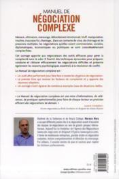 Manuel de négociation complexe - 4ème de couverture - Format classique