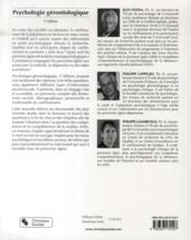 Psychologie gérontologique - 4ème de couverture - Format classique