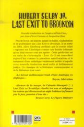 Last exit to Brooklyn - 4ème de couverture - Format classique