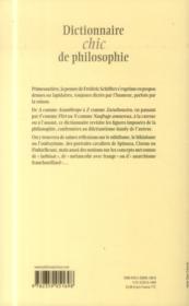 Dictionnaire chic de philosophie - 4ème de couverture - Format classique