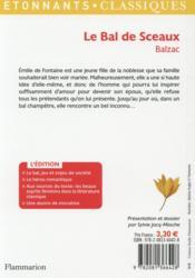 Le bal de Sceaux - 4ème de couverture - Format classique