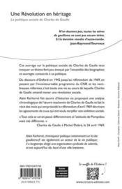 Une révolution en héritage ; la politique sociale de Charles de Gaulle - 4ème de couverture - Format classique