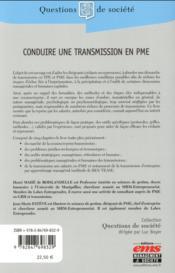Conduire une transmission en PME - 4ème de couverture - Format classique