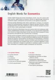 English Words For Economics Vocubulaire Anglais Contemporain De L'Economie - 4ème de couverture - Format classique
