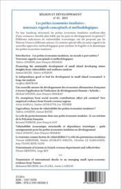 Region Et Developpement T.42 ; Petites Economies Insulaires ; Nouveaux Regards Conceptuels Et Méthodologiques - 4ème de couverture - Format classique