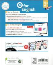 E FOR ENGLISH ; anglais ; 3e ; workbook (édition 2017) - 4ème de couverture - Format classique