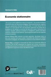 Économie stationnaire - 4ème de couverture - Format classique