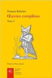 Oeuvres complètes t.1 - Couverture - Format classique