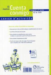EL NUEVO CUENTA CONMIGO ; espagnol ; 2e année ; cahier d'activités (édition 2008) - 4ème de couverture - Format classique