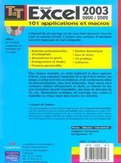 Excel 2003 - 4ème de couverture - Format classique