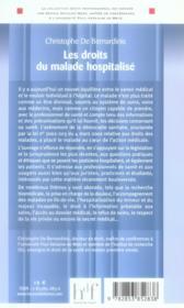 Les droits du malade hospitalisé - 4ème de couverture - Format classique