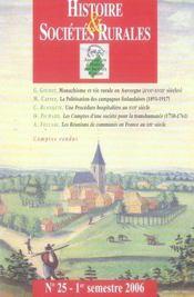 REVUE HISTOIRE ET SOCIETES RURALES ; histoire et sociétés rurales n.25 - Intérieur - Format classique