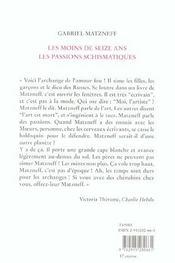 Les Moins De Seize Ans - Les Passions Schismatiques - 4ème de couverture - Format classique
