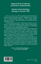 Rapport final de la conférence provinciale sur la reconstruction ; province du Kasa Occidental ; Kananga, 6-12 janvier 1998 - 4ème de couverture - Format classique