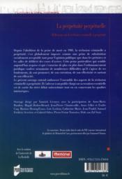 Perpétuité perpétuelle; réflexions sur la réclusion criminelle à perpétuité - 4ème de couverture - Format classique