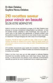 210 recettes saveur pour mincir en beauté ; selon votre morphotype - 4ème de couverture - Format classique