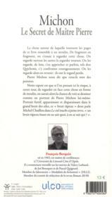 Michon. le secret de maitre pierre - 4ème de couverture - Format classique