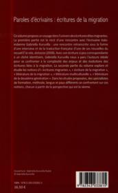 Paroles d'écrivains : écritures de la migration ; rencontre avec Gabriel Kuruvilla - 4ème de couverture - Format classique