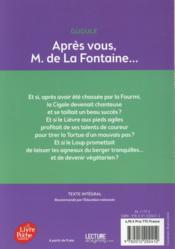 Après vous monsieur de la Fontaine - 4ème de couverture - Format classique