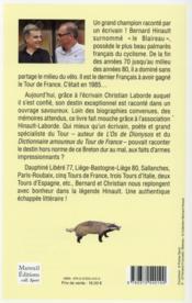 Bernard Hinault, l'épopée du blaireau - 4ème de couverture - Format classique