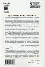 Faire vivre le droit à l'éducation - 4ème de couverture - Format classique