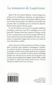 Le testament de Lapérouse - 4ème de couverture - Format classique