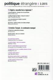 POLITIQUE ETRANGERE ; l'Algérie, nouvelle force régionale ? - 4ème de couverture - Format classique