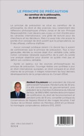 Le principe de précaution au carrefour de la philosophie, du droit et des sciences - 4ème de couverture - Format classique