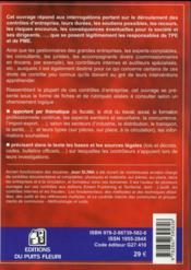Les contrôles en entreprises - 4ème de couverture - Format classique